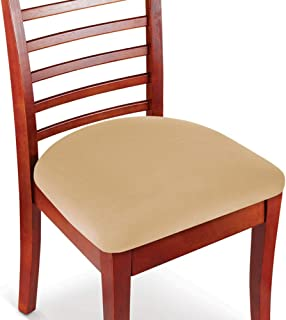 Collections Etc Easy Fit Seat Covers for Chairs, Bar Stools, Patio Cushions - 2 PC Set, Beige