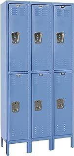 Hallowell U3258-2MB Marine Blue Steel Premium Wardrobe Locker, 3 Wide with 6 Opening, 2 Tier, 36