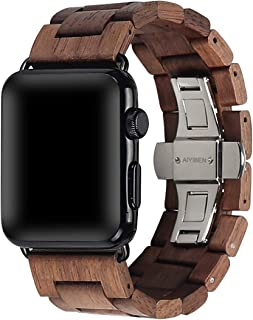 AIYIBEN Wooden Watch Strap Band 38mm/40mm with Stainless Steel Butterfly Buckle Compatible for iWatch Series 1 2 3 4 (Walnut 38mm/40mm)