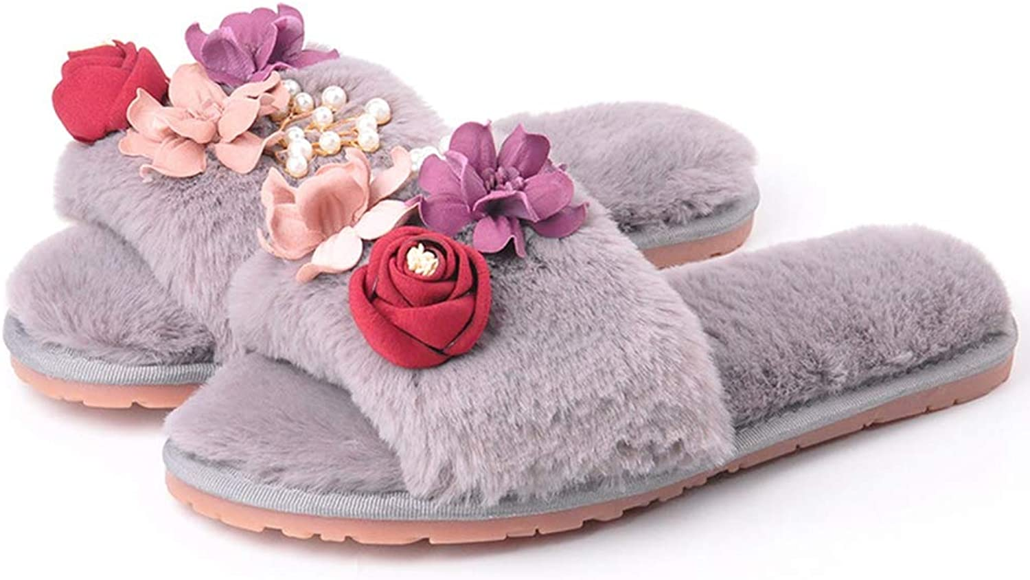 T-JULY Women's Flower Pearl Fur Slippers Soft Cozy Plush Autumn Winter Warm Furry Slip On Slides Home shoes