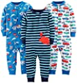 Simple Joys by Carter's Baby Boys' 3-Pack Snug Fit Footless Cotton Pajamas, Crab/Sea Creatures/Cars, 12 Months