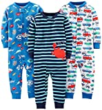 Simple Joys by Carter's Baby Boys' Toddler 3-Pack Snug Fit Footless Cotton Pajamas, Crab/Sea Creatures/Cars, 3T
