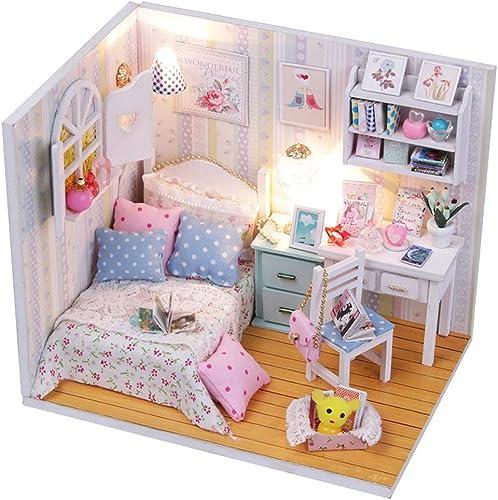 DIY Hand Make Wooden Doll House Bed Miniatur mit Licht M l Staubtusche M l Dollhouse Geschenk