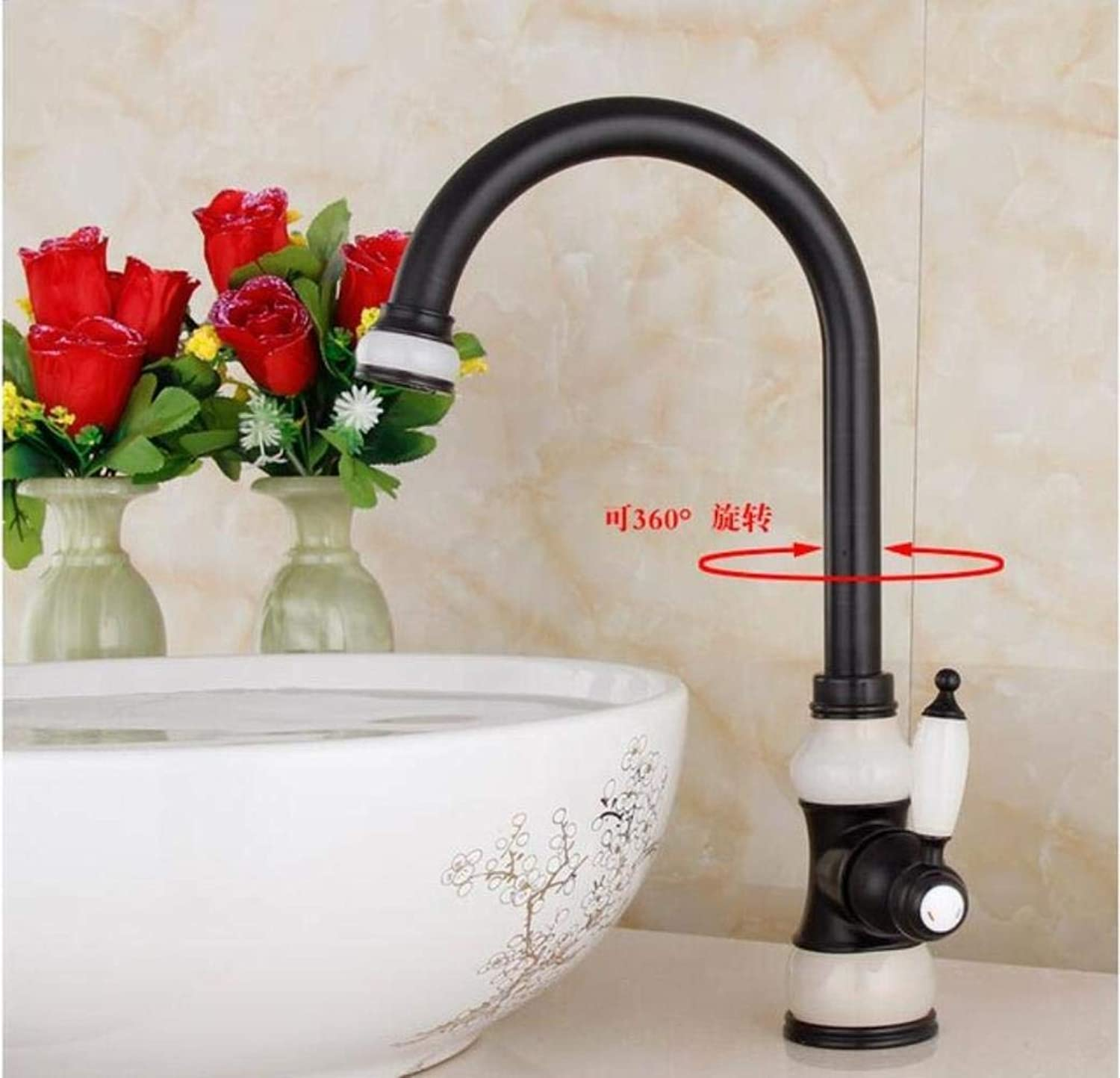 Kai&Guo Fashion gold hot and cold single lever kitchen Faucet Jade and Brass sink faucet tap bathroom basin faucet sink tap,black