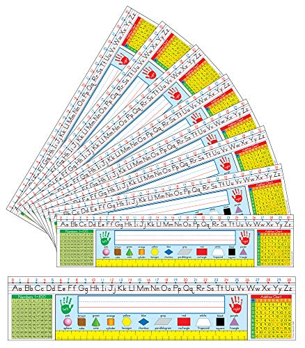 Carson Dellosa Traditional Manuscript Grades 1–3 – Student Nameplate with Alphabet, Ruler, Shapes, Number and Addition Charts for Homeschool or Classroom (36 pk)