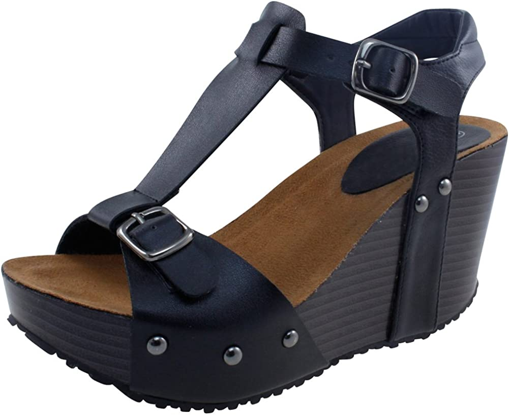 Cambridge Select Women's T-Strap Open Toe Buckled Ankle Studded Chunky Platform Wedge Sandal