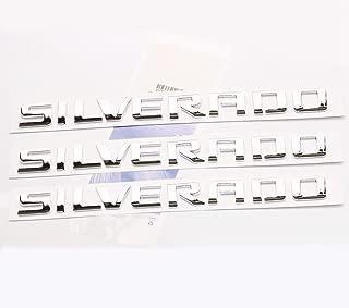 Yoaoo 3x OEM Chrome Silverado Nameplate Letters Emblems Badge for 1500 2500Hd 3500Hd Origianl Silverado