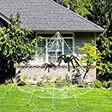 GEJRIO Halloween Decorations with 16 Ft Halloween Spider Web + 35' Giant Spider + 24' Spooky Hairy Spider for Indoor Outdoor Halloween Decorations Haunted House Décor