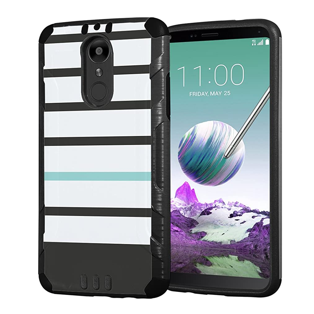 Moriko Case Compatible with LG Stylo 4 Plus, LG Stylo 4, LG Q Stylus [Armor Layer Drop Protection Slim Fashion Shockproof Black Case] for LG Stylo 4 - (Black Mint Stripe)