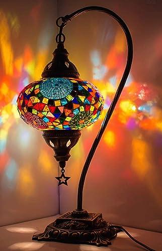 New* BOSPHORUS Stunning Handmade Swan Neck Turkish Moroccan Mosaic Glass Table Desk Bedside Lamp Light with Bronze Ba...