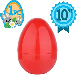 Totem World Jumbo 10-Inch Solid Red Easter Egg - The Perfect Size For Holding Toys, Candy Bars, And Stuffed Animals - Easy To Open, Tough To Break - Great As Party Favors And Easter Basket Stuffers