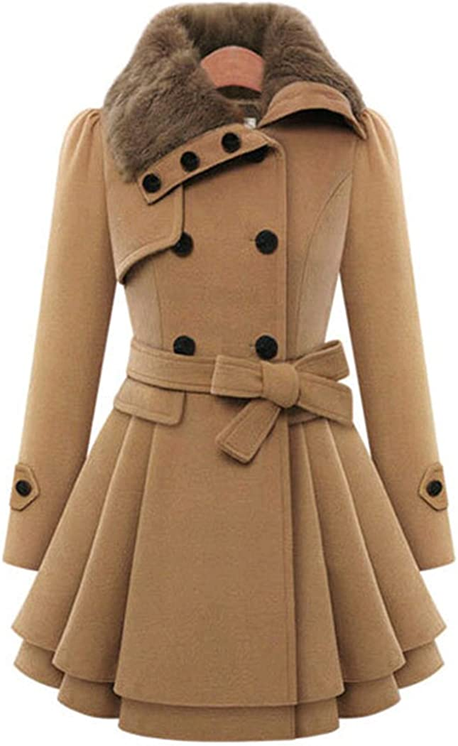 watersouprty Women's Faux Fur Lapel Double-Breasted Thick Long Wool Trench Coat Jacket