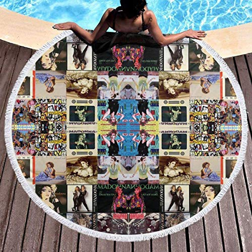 DGTY Manta de Toalla de Playa Redonda Gruesa -Madonna Collage Alfombra Circular Circular Grande