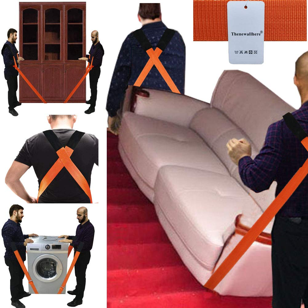 Orange JCHL Moving Straps Lifting Strap for Furniture Appliances Mattresses Heavy Objects up to 800 Pounds 2-Person Furniture Moving Straps Appliances Carrying