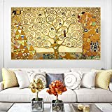 Gustav Klimt 《El árbol de la vida, 1909》 Cuadros Decoracion Salon Cuadros Para Dormitorios Modernos Lienzos Decorativos Cuadros Para Cabeceros De Cama Laminas Decorativas Pared (25x43cm) sin marco