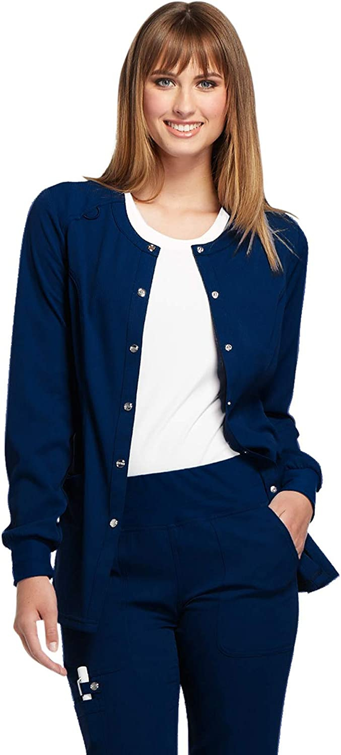 Elle Women Warm Up Scrubs Jacket Snap Front EL300: Clothing, Shoes & Jewelry