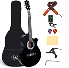 Beginner Acoustic Guitar 40 Inch Cutaway Mahogany Black Guitar Bundle with Gig Bag Clip Tuner Capo Strap 2 Picks Wipe