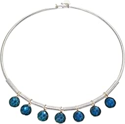 Faceted Bead Frontal Round Wire Necklace