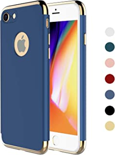 """RORSOU iPhone 8 Case,iPhone 7 Case, 3 in 1 Ultra Thin and Slim Hard Case Coated Non Slip Matte Surface with Electroplate Frame for Apple iPhone 7 (4.7"""") (2016) and iPhone 8 (4.7"""") - Blue & Gold"""