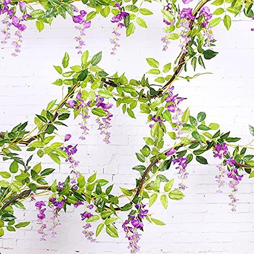 Ghirlanda di fiori artificiali di glicine, 2 x 2 m, ghirlanda di fiori artificiali di glicine, per giardino, fiori, casa, decorazione per feste di nozze (viola)