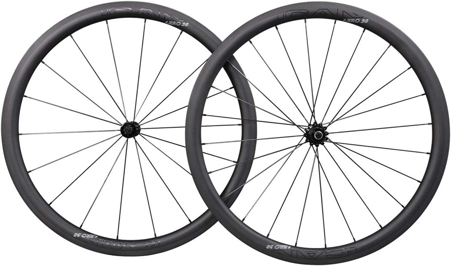 ICAN Carbon Wheelset Lightweight 1433g Road Bike Wheels 38mm Deep 27mm Width Clincher Tubeless Ready with Straight Pull Hub 18 24 Holes