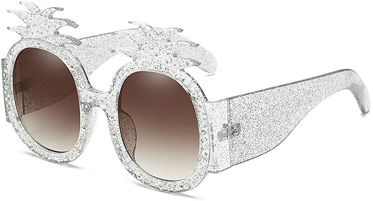 Women's Sunglasses Pineapple with Crystal Irregular Oversized for Women Rimmed Sunglasses UV Predection Personality Cool Lady's Sunglasses for Ball Driving Travelling (color   Silver)