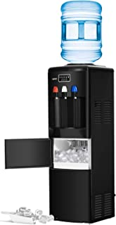 KUPPET 2 in 1 Water Dispenser with Built-in Ice Maker Machine/Electric Hot Cold Water Cooler with Child Security Lock (Black)