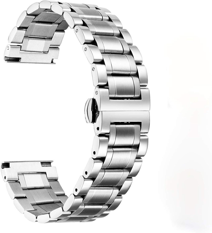 BINLUN 6 Colores CorreasDe Reloj Acero Inoxidable con Extremo Recto Y Curvado (Oro, Plata, Negro, Oro Rosa, Oro Y Plata De Dos Tonos,) -12mm,14mm,16mm,18mm,19mm,20mm,21mm,22mm,24mm