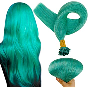 Full Shine 16 Inch I Tip Hair Extensions Real Hair Extensions 50 Strands Teal Colorful Fusion I Tip Pre Bonded Brazilian Hair Cold Fusion Hair Extensions 0.8 Gram Per Strand 40 Gram Per Package