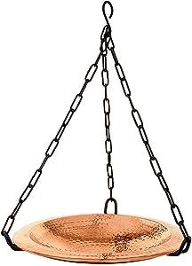 Achla Designs BBH-02CP Hammered Hanging birdbath Bowl, Polished Copper