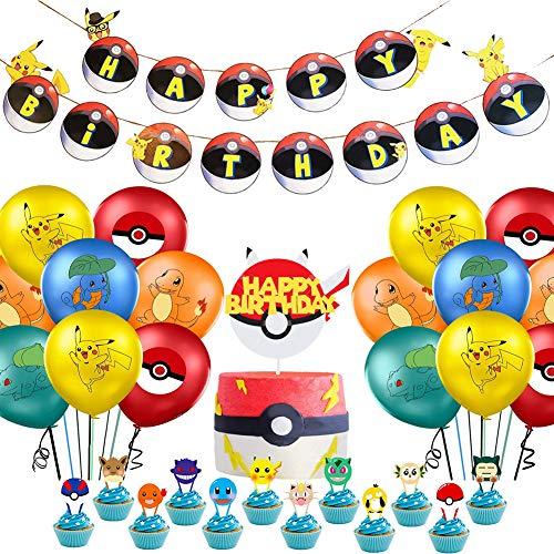 Globo Pika-chu Globos de Fiesta Látex Balloons Pika-chu Happy Birthday Banner Cake Topper Suministros de Fiesta Cumpleaños de Poke--mon