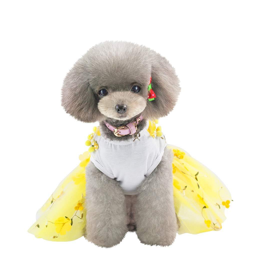Barlingrock 2019 Perro del Animal DoméStico del Gato Que Se Viste De Fondo Vestido De Flores De ImpresióN Vestido De Gato Transpirable: Amazon.es: Productos para mascotas
