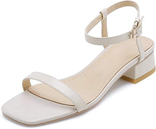 Longing-Summer Sandales pour Femme en Cuir de Vachette Vachette carré à Talon Bas avec Boucle à Bout Ouvert  le dernier