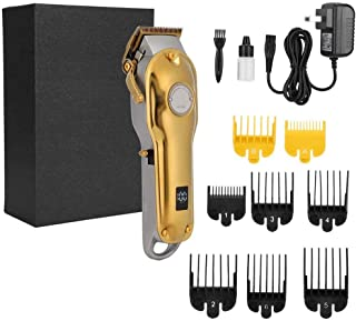 Professional Electric Hair Clipper Beard Trimmer Hair Cutting Machine Grooming Kit US Plug 100-240V (Gold)