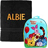 Personalised Winnie the Pooh School Backpack and Swimming Towel Set (Tigger Black and Orange)