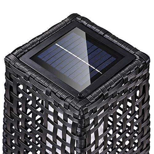 DEUBA Poly Rattan LED Solarleuchte Solarlampe schwarz | 70cm Hoch | Stehend | Für Garten, Balkon & Terrasse - Außenleuchte Gartenleuchte Gartenbeleuchtung Solar Gartenlampe Außen - 4