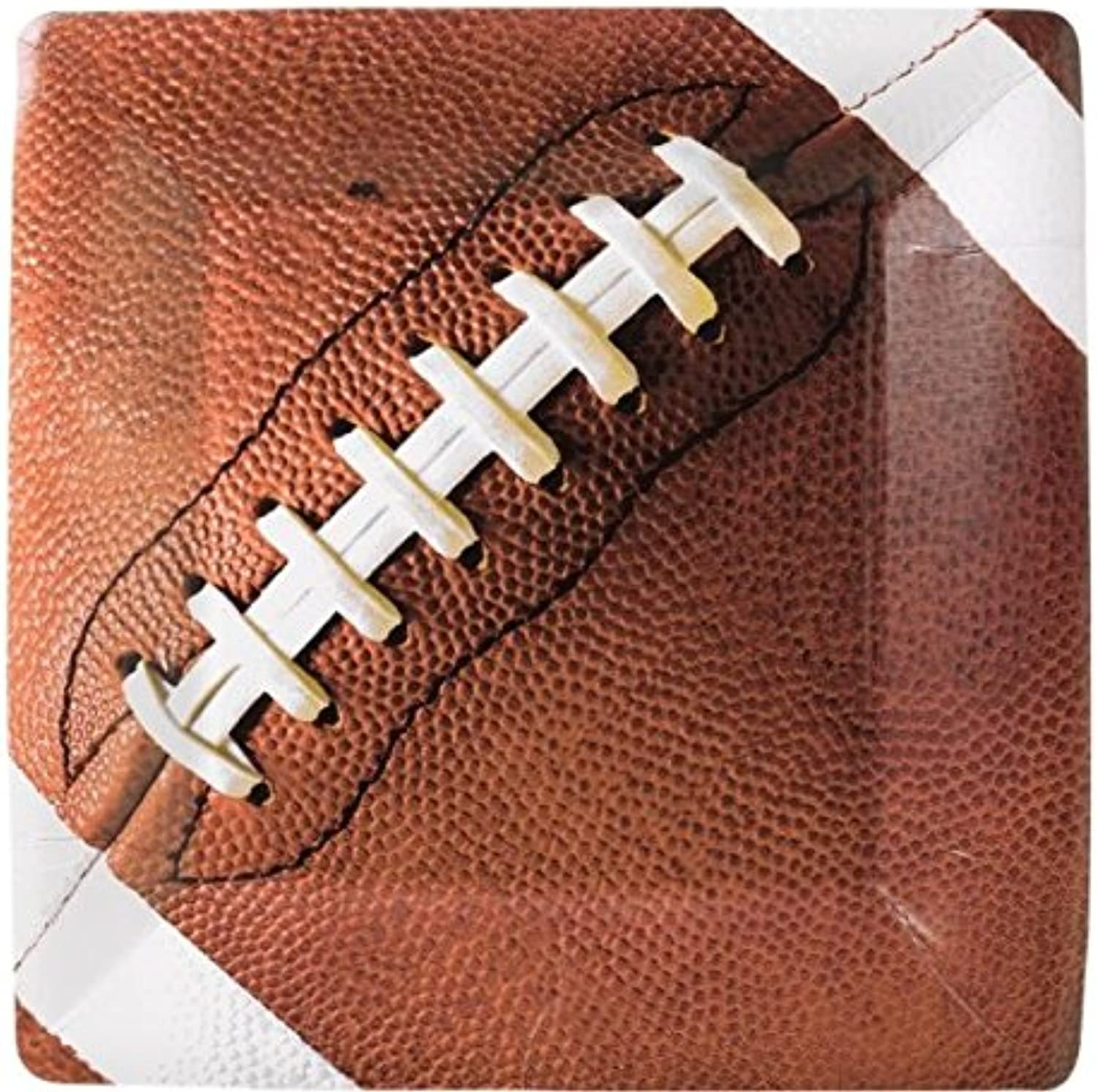 Amscan Football Fan Birthday Party Square Dessert Plates (8 Piece), Brown, 7.3 x 7.3