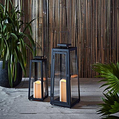 Lights4fun 2er Set LED Metall Solarlaternen mit Kerzen 29,5cm 39,5cm Außen