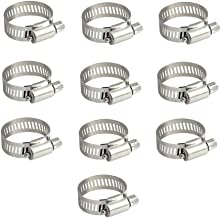 Topnisus 10pcs Set Adjustable Hose Clips Pipe Clamps Kits Rust Free (10-16mm)