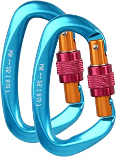 Azarxis 25KN Aluminum D-Ring Locking Climbing Carabiner Clip Rated 5511 LBS, Heavy Duty Large & Durable Strong Rock Hook Carabiner Set Screw Gate Buckle for Outdoor Hammock Rocking Camping