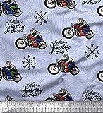 Soimoi Blau Seide Stoff Biker, Richtung Kompass und Fahrrad