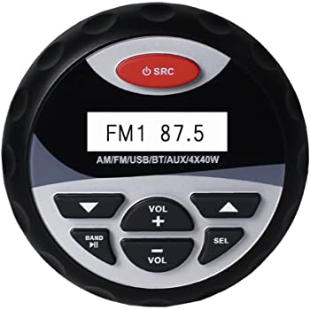 Herdio Weather-proof Marine Stereo , Boat Gauge Audio In-Dash , Bluetooth, Digital Media Receiver MP3 /USB/AM /FM (No CD Player)