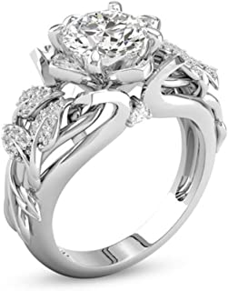 Clearance! WILLTOO Jewelry Fashion Forever Classic Flowers with Tiny Zircon Engagement Wedding Band Ring (Silver, US 7)
