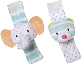 Manhattan Toy Playtime Plush Toy, Elephant & Bear Wrist Rattle