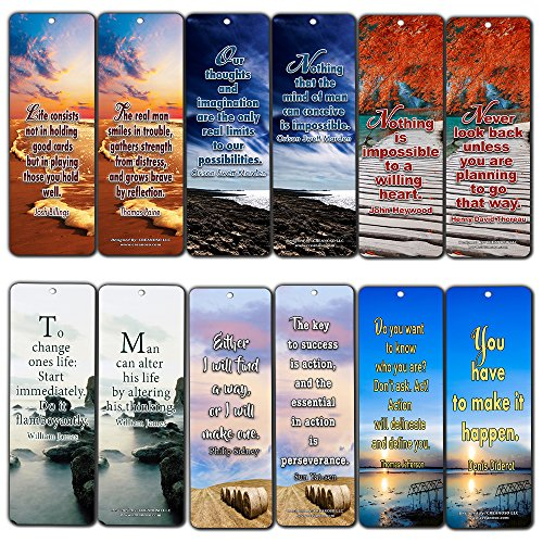 Creanoso Motivational Quote Sayings Bookmarks (12-Pack) - Inspirational and Motivational Sayings Bookmarker Cards – Assorted Pack Collection for Inspiring Book Reader and Lovers