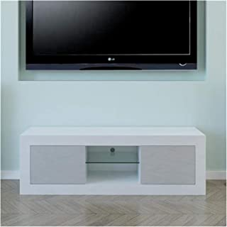 Two Door TV Cabinet White Gray Glass TV Cabinet Simple Modern Family Living Room TV Cabinet Annacboy (Color : White Gray)