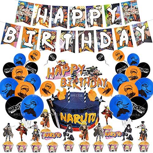 Naruto Geburtstagsthema Party Anzug japanische Anime Pull Flag Ballon Kuchen Reihe Party Dekoration liefert