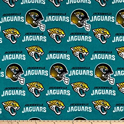 Fabric Traditions NFL Fleece Jacksonville Jaguars Fabric, Gold/Black/Aqua, Fabric by The Yard-P