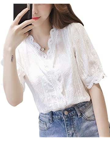 586b0a6aee417 イノ)Yino 白 ブラウス レディース トップス シャツ 夏 おしゃれ 可愛い ゆったり 大きいサイズ 刺繍