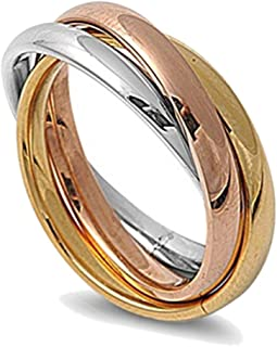 3MM Stainless Steel Tri Color Interlocked Rolling Band Ring (Size 3 to 13)